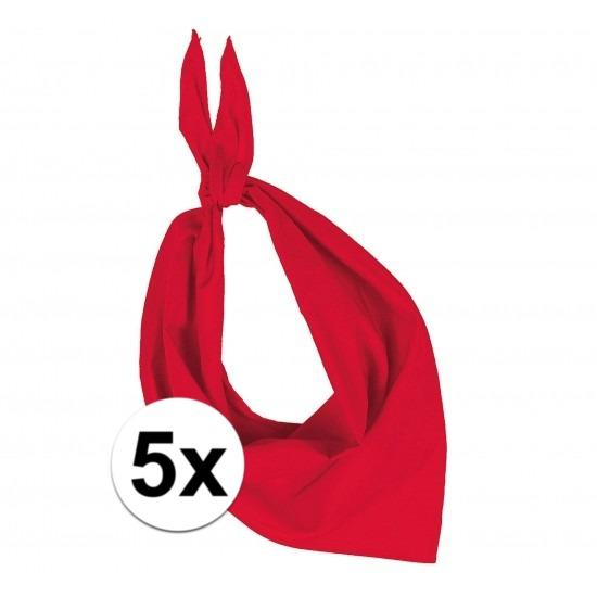 5x Bandana zakdoeken rood