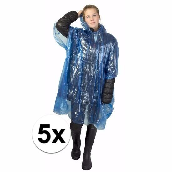 5x blauwe regen ponchos voor volwassenen