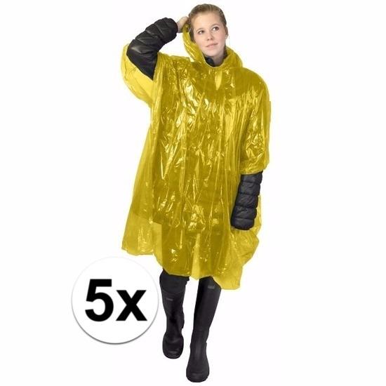 5x gele regen ponchos voor volwassenen