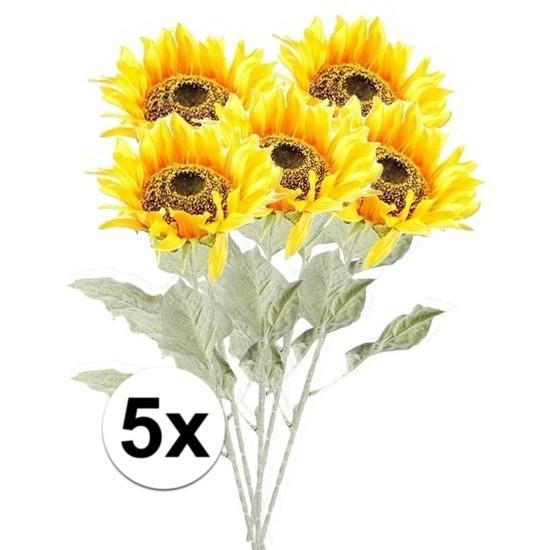 5x Gele zonnebloem 82 cm kunstplant steelbloem