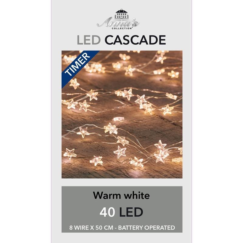 5x Kerst cascadeverlichting met timer 40 lampjes wit 8x 50 cm
