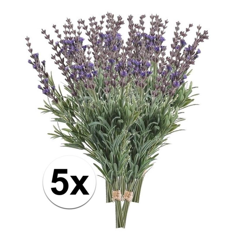 5x Lavendel kunstbloemen bundel 33 cm