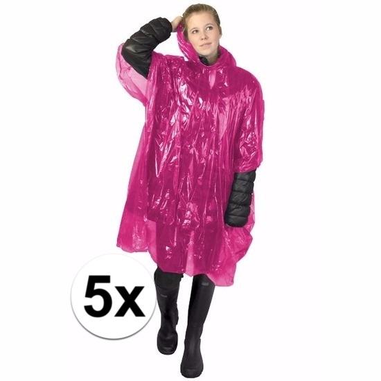 5x roze regen ponchos voor volwassenen