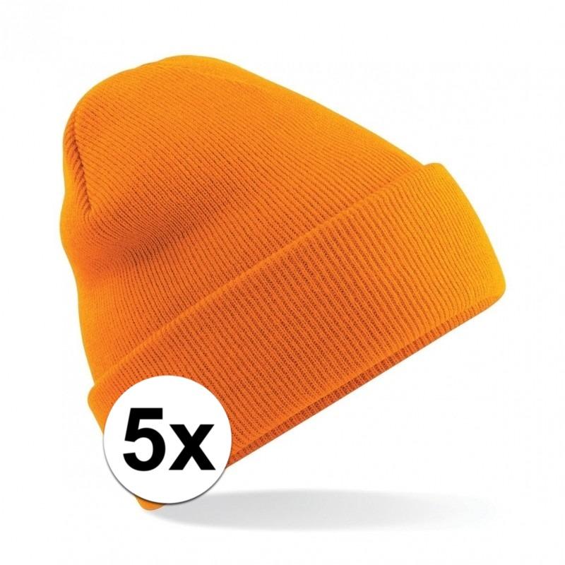 5x Winter muts voor volwassenen oranje