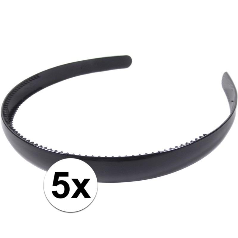 5x Zwarte dames diadeem/haarband 1,5 cm breed