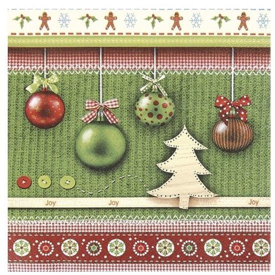 60x Groene Kerst servetjes met ballen print 33 x 33 cm