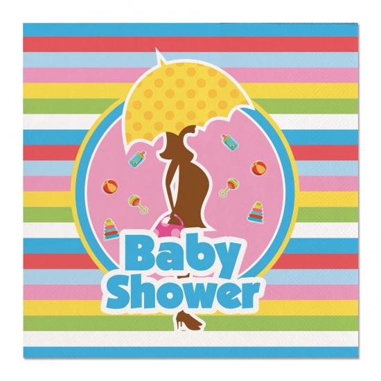 60x Papieren servetjes babyshower gekleurd/zwart thema feestartikelen 25 x 25 cm