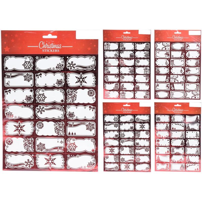 63x Kerst cadeau naamstickers-etiketten rood