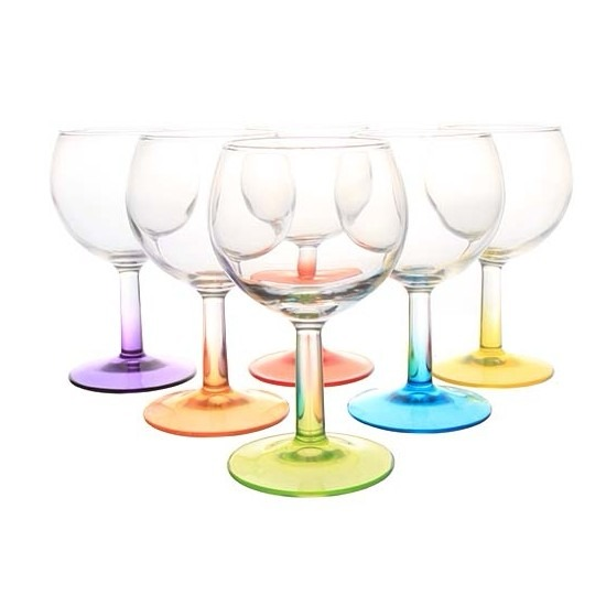 6x gekleurde wijnglas 19 cl