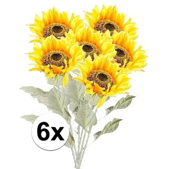 6x Gele zonnebloem 82 cm kunstplant steelbloem