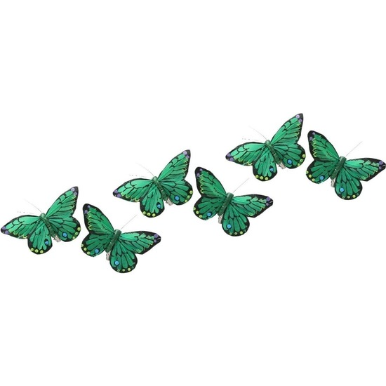6x Kerstboom versiering groene-gekleurde kerstvlinders 9 x 11 cm op clip