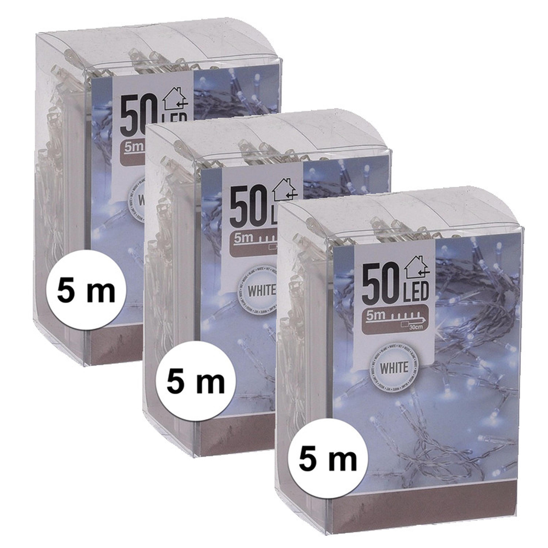 6x Kerstverlichting op batterij helder wit 50 lampjes