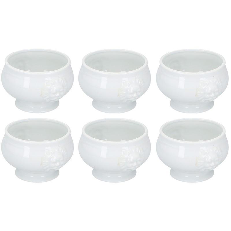 6x Noodle bowl-soep kommen wit porselein 14 cm