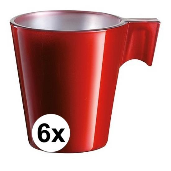 6x Rode espresso/koffie kop