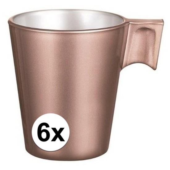 6x Rose goud espresso/koffie kop