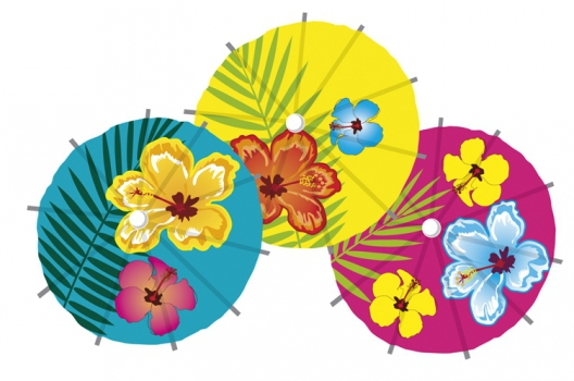 6x stuks Cocktail-IJsjes parasols prikkers Hawaii print