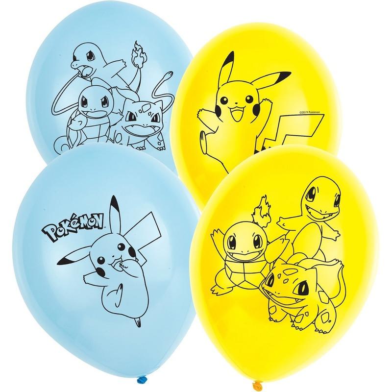 6x stuks Pokemon thema feest-verjaardag ballonnen 28 cm