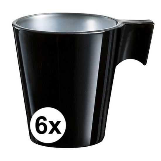 6x Zwarte espresso/koffie kop