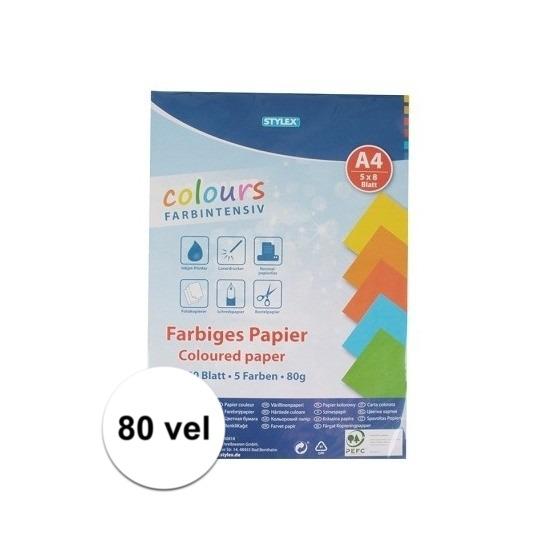 80 velletjes Hobby papier gekleurd A4