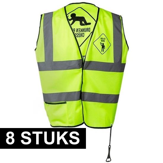 8x Veiligheidsvest neon geel dronken mensen voor heren