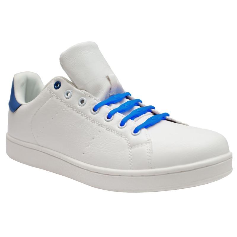 8x Veters strikken hulp kobalt blauwe brede elastische/elastieken schoenveters voor dames/heren