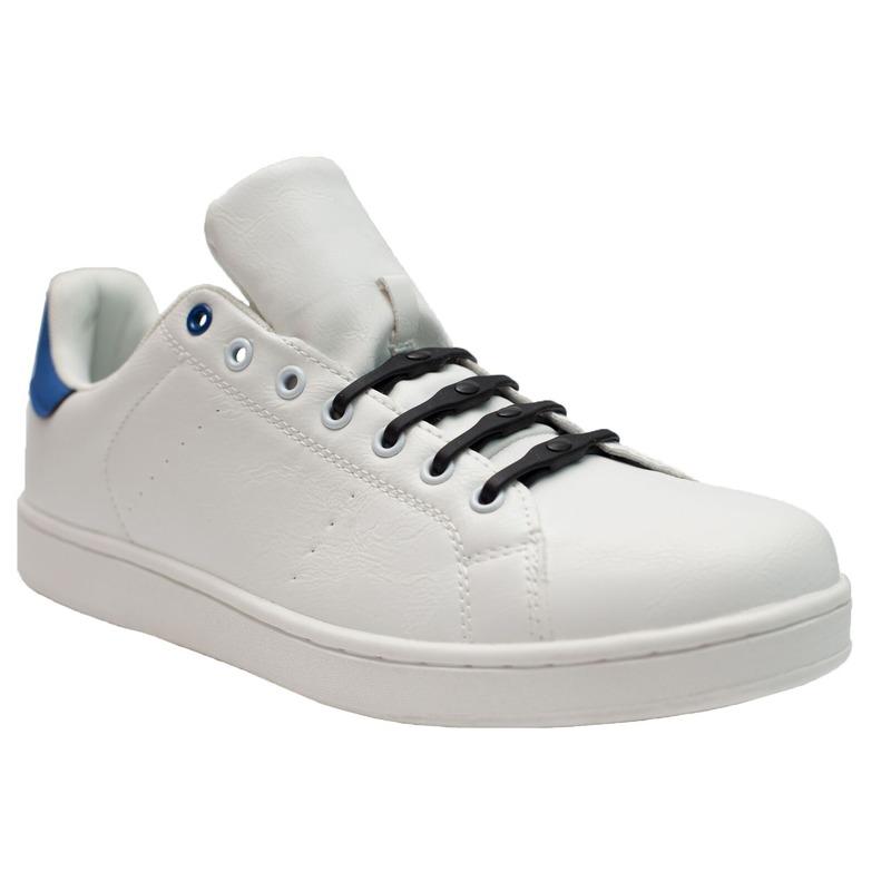 8x Veters strikken hulp navy blauwe brede elastische/elastieken schoenveters voor dames/heren