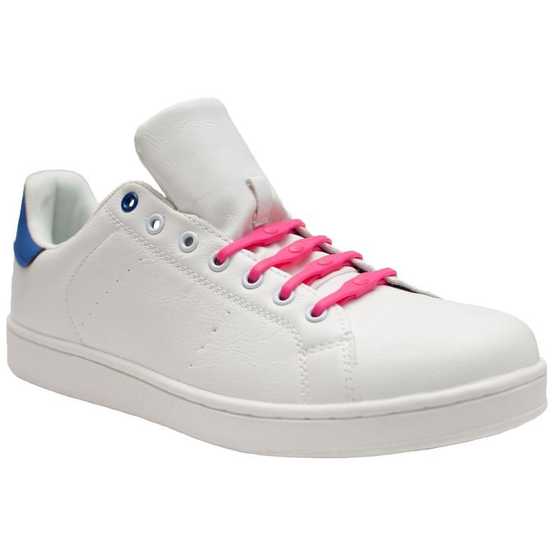 8x Veters strikken hulp roze brede elastische/elastieken schoenveters voor dames/heren