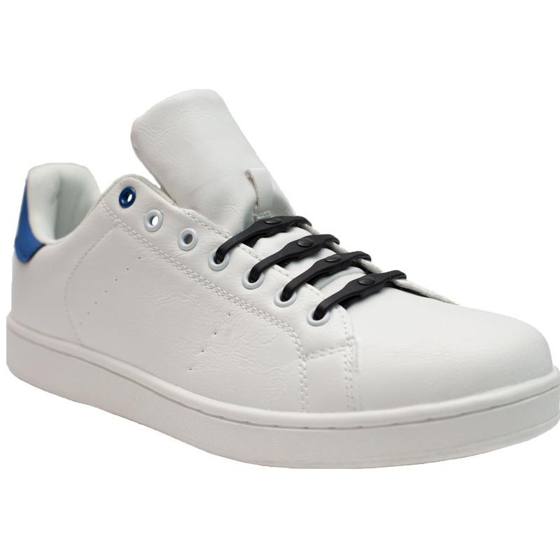 8x Veters strikken hulp zwarte brede elastische/elastieken schoenveters voor dames/heren