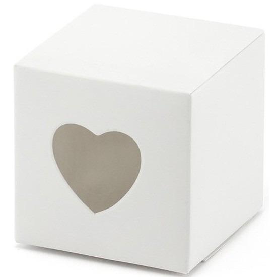 9x verpakking met 10 witte cadeaudoosjes met een hartjes uitsnede. u kunt een klein presentje en/of snoepgoed ...