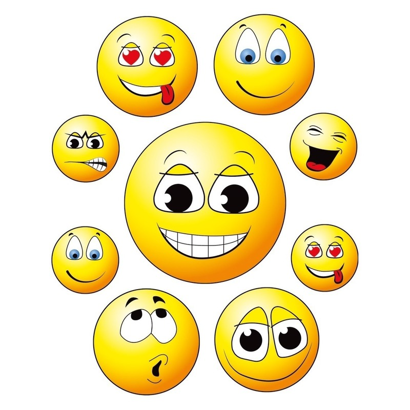 9x Raamstickers smileys-emoticon raamdecoratie