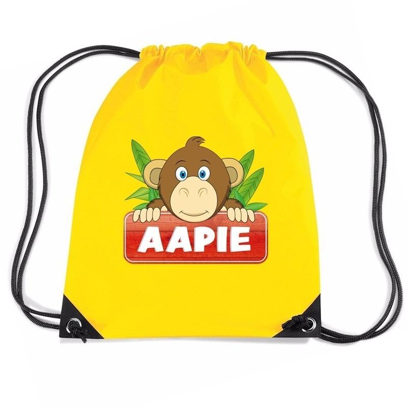 Aapie het aapje rugtas / gymtas geel voor kinderen