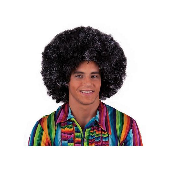 Afro hippie disco herenpruik zilver/zwart