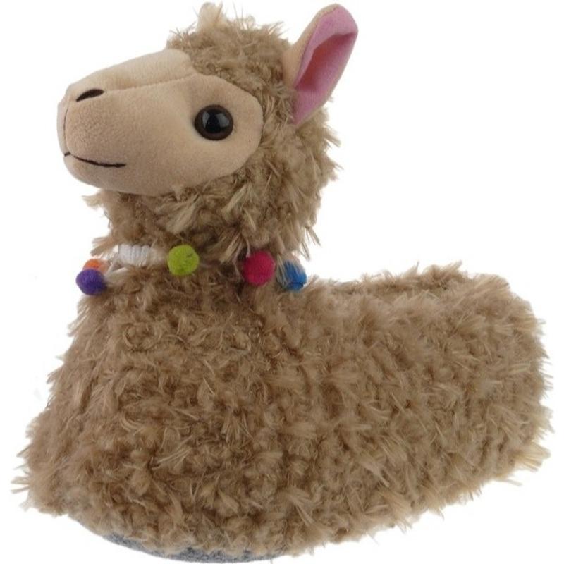 Alpacas/lamas sloffen/pantoffels hoog model voor dames
