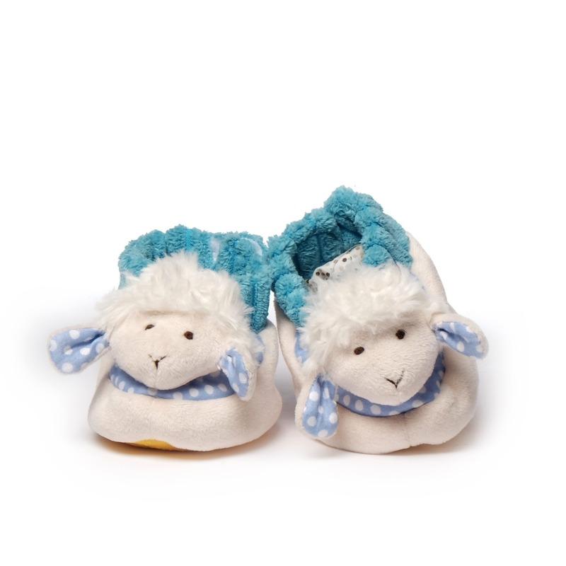 Babyslofjes wit/blauw schaap/lammetje