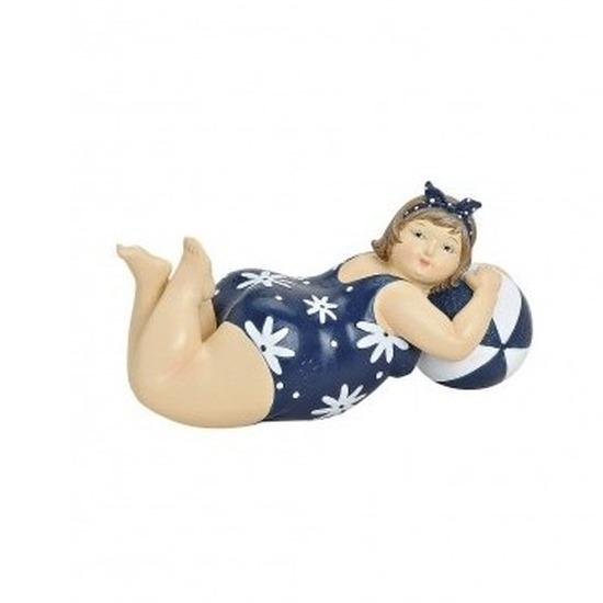 Beeld dikke dame 20 cm in blauw-wit badpak