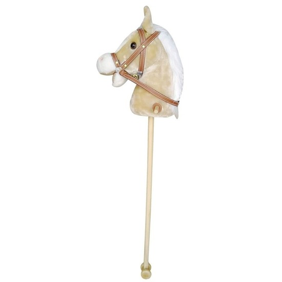 Beige stokpaard voor kinderen beweegt en maakt geluid 97 cm