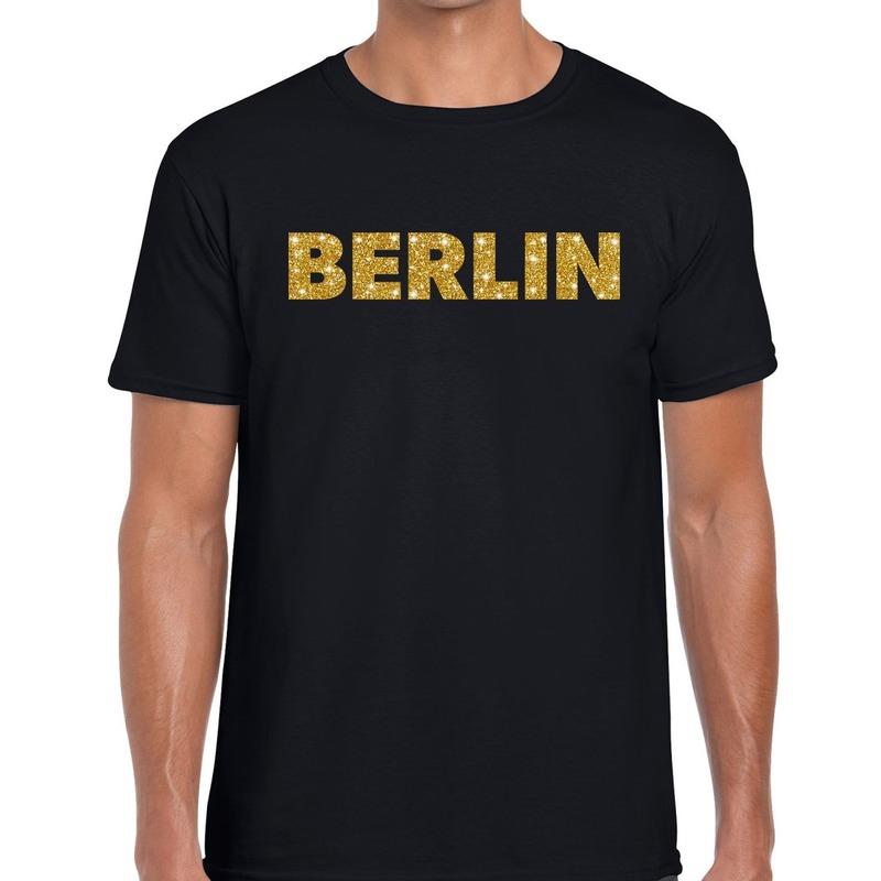 Berlin gouden glitter tekst t-shirt zwart heren