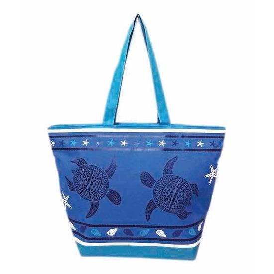 Blauw/donkerblauwe strand tas schildpad/schelp print Turtle 58 cm