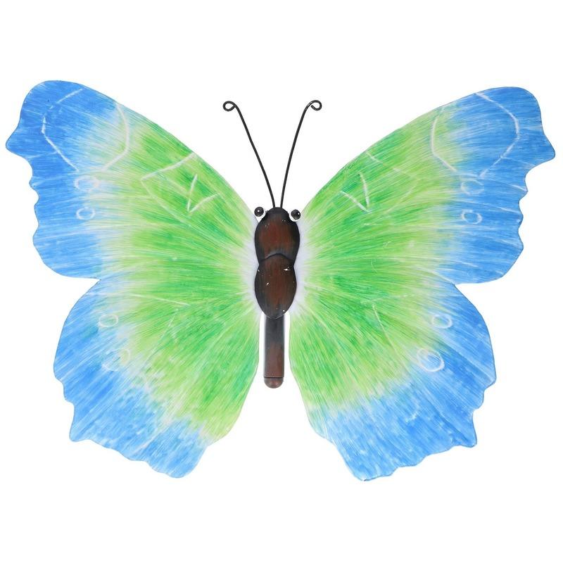Blauw-groene schutting decoratie vlinder 40 cm