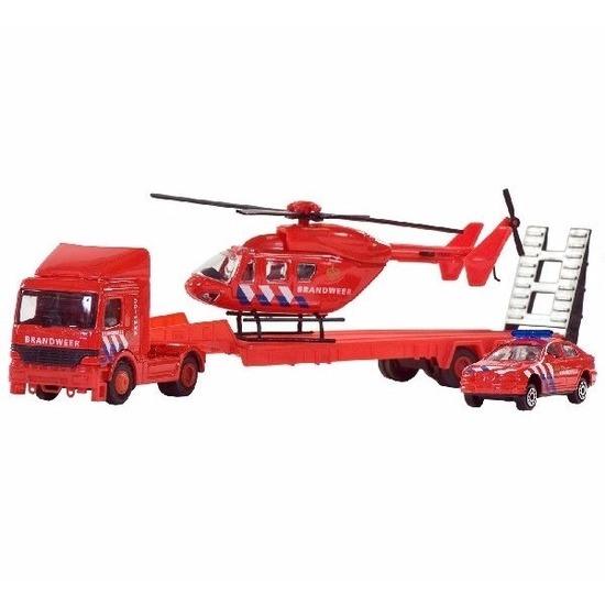 Brandweer set auto-helikopter-vrachtwagen 26 cm