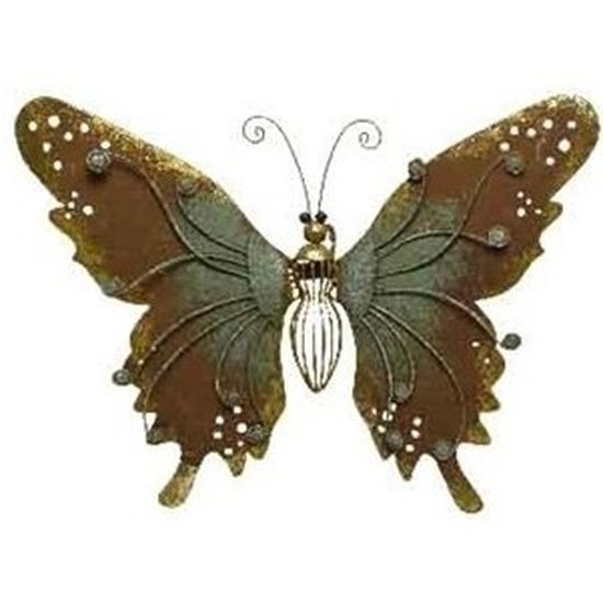 Brons-groene schutting decoratie vlinder 36 cm
