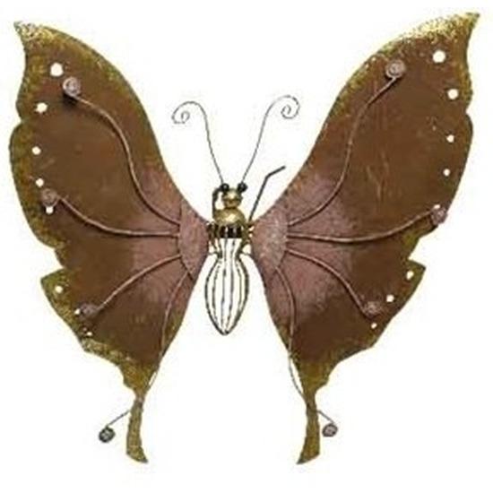 Brons-roze schutting decoratie vlinder 36 cm