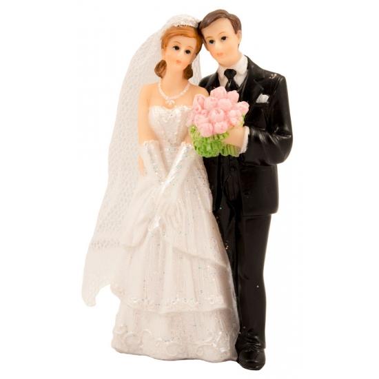 Bruid met boeket taart deco