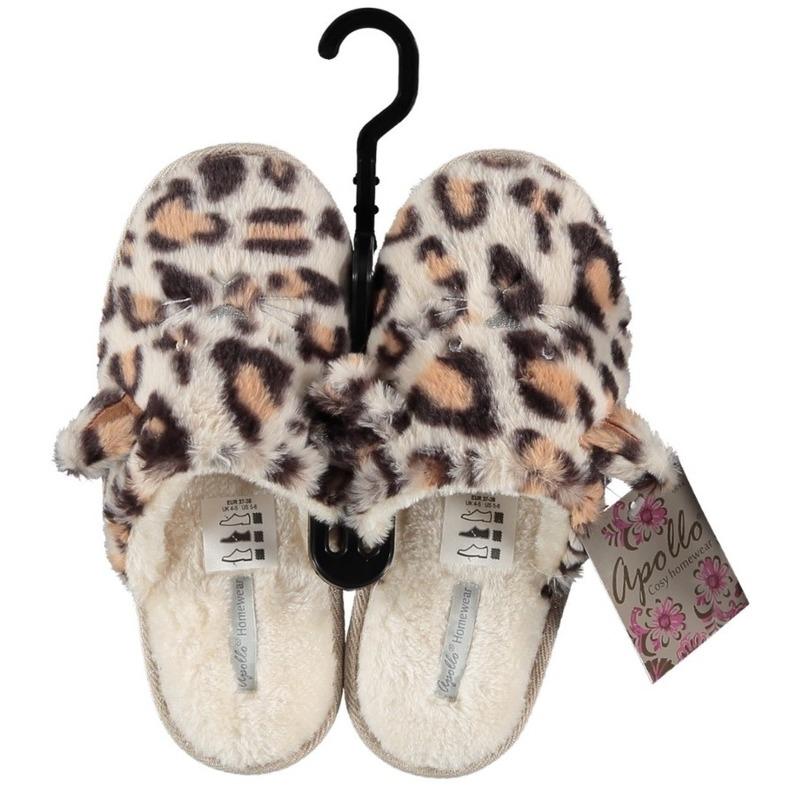 Bruin/creme instapsloffen/pantoffels luipaardprint voor dames
