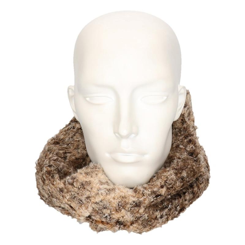 Bruine dierenprint pluche ronde sjaal voor volwassenen