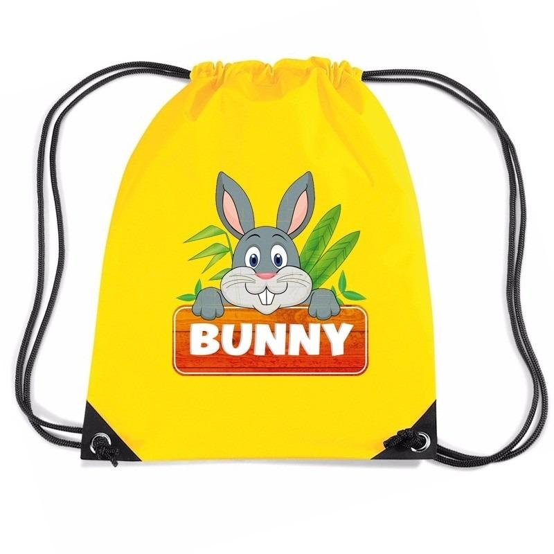 Bunny het Konijn rugtas / gymtas geel voor kinderen