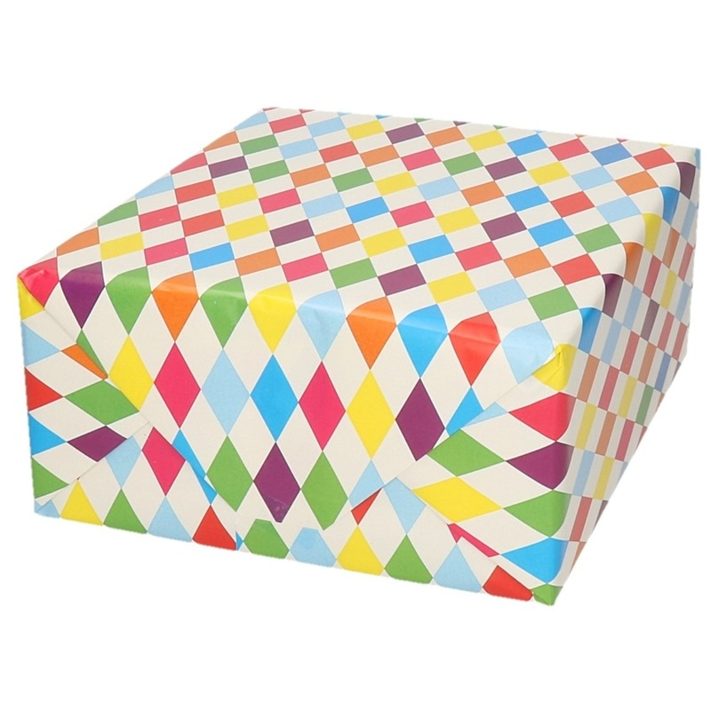 Cadeaupapier ruitjes wit 70 x 200 cm