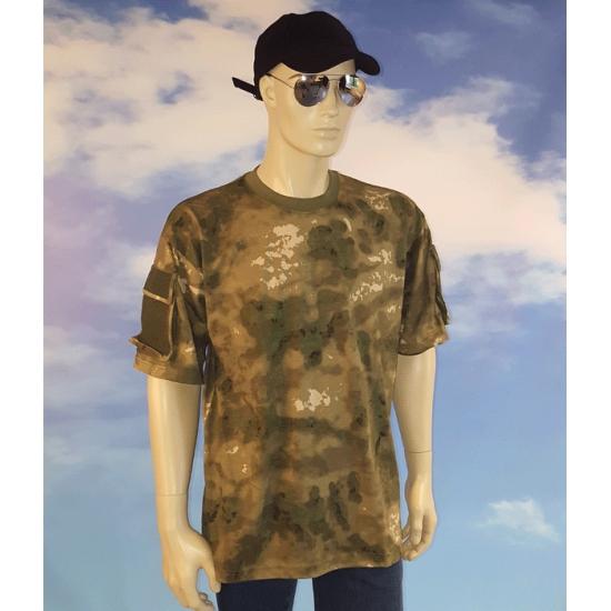 Camouflage t-shirt met zakjes voor heren