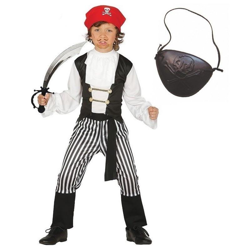 Carnavalskleding piraat maat 128-134 voor jongens/meisjes