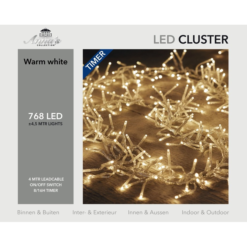 Clusterverlichting met timer 768 lampjes warm wit 4,5 m